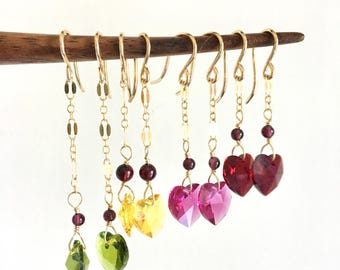 Swarovski Crystal. Heart Earrings. Gold.