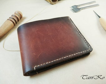 Brown leather wallet, mens handmade wallet, Bifold small wallet, natural leather wallet, credit card wallet