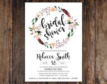 Fall or Winter Burgundy and Peach Flowers with Feathers 5x7 Bridal Shower Invitation