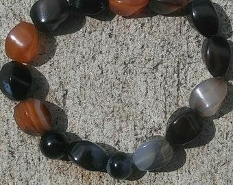 Women Bracelet, Amber Stone Bracelet, Orange Bracelet, Mixed Bead Bracelet