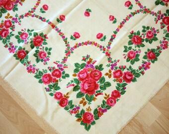 Châle en laine Vintage écharpe en laine avec motif floral #87