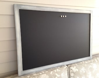 """Modern Framed CHALKBOARD Extra Large Magnetic Board Weathered Whitewash Gray Blackboard 26.5 x 38.5"""" Deluxe Handmade Frame Button Magnets"""