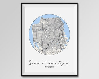 SAN FRANCISCO Map Print, Modern City Poster, Black and White Minimal Wall Art for the Home Decor