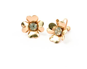 Vintage Earrings - Coro Earrings - Vintage Flower Earrings - Gold Tone Earrings - Gift For Her - Mom Gift  - - Vintage Jewelry