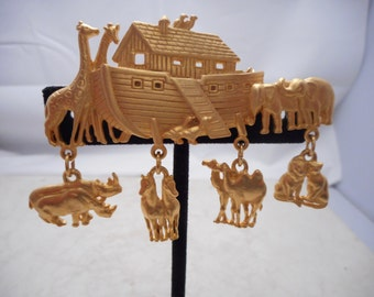 Vintage Noah's Ark Brooch Pin with Charms Signed JJ