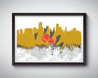 Miami Inspired Art Poster Print, Miami, Florida Skyline Poster