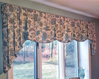 """Made To Order PEYTON Hidden Rod Pocket® Valance with pleated jabots fits 65""""- 86"""" window,Window treatment made using your fabrics, my lining"""