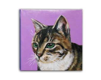 "8x8x1.5"" Custom Pet Portrait / Custom Cat Portrait /Custom Portrait -1 Pet - Close-Up Solid background New Gallery Style Canvas"