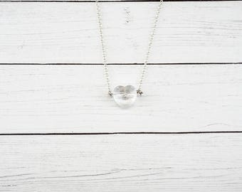 Crystal Heart Necklace, Simple Necklace, Delicate Necklace, Layering Necklace