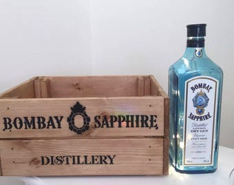 Vintage Style Wooden Bombay Sapphire Gin Crate Box & Up cycled Bottle Light Lamp Home Gift Christmas