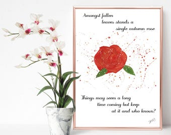 Autumn Rose Rhyme A4 Poster Print
