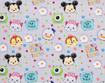 Disney Fabric, Tsum Tsum Fabric: Disney Tsum Tsum I Love My Friends - Mickey and Monster Inc 100% cotton fabric by the yard (SC1095)