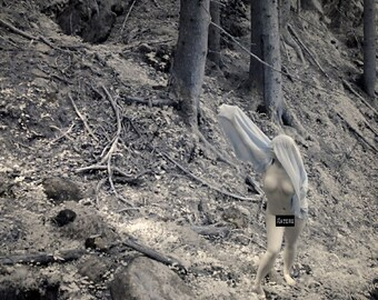 Nude art in nature infrared naked photography in forest fine art photo print - Priestess in Infrared - 16 - MATURE