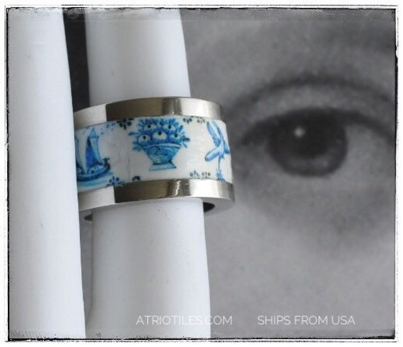 Tile Ring Portugal DELFT Stainless Steel Band Azulejos Portuguese Brasil Brazil Portugal Blue size 5