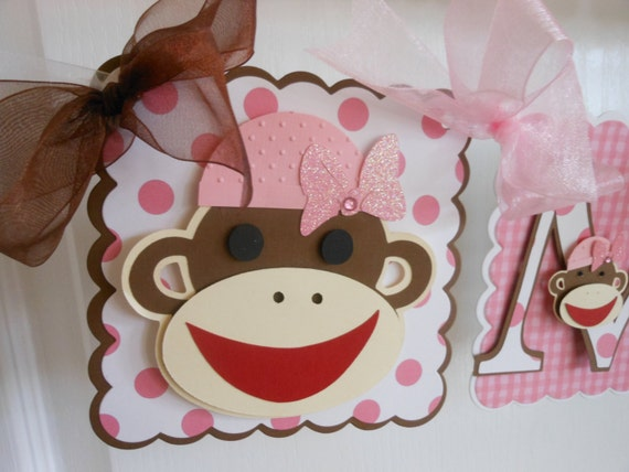 Items similar to sock monkey girl birthday party package on etsy filmwisefo
