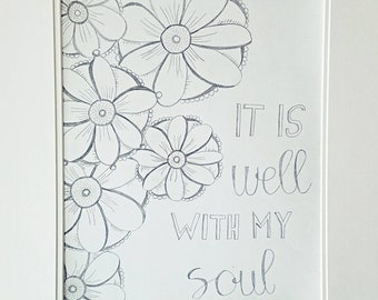 It is well with my soul drawing Christian drawing flower drawing christian sketch hymnal drawing hymnal sketch flower sketch
