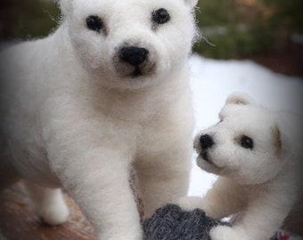 Needle felted Animal Polar Bears Needlefelted Soft Sculpture Animal by Bella McBride