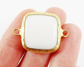 23mm White Jade Square Gemstone Connector Station - 22k Gold plated Bezel - 1pc