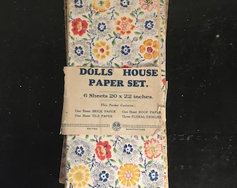 Early 1950s Original Dolls House Wallpaper Crown Ivy Series Brick Tile Floral