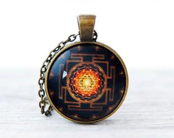 Sri yantra mandala, Buddhist mandala, Spiritual Jewelry, Buddhist sacred, geometry jewelry, Sri yantra pendant, Sacred geometry, Spiritual