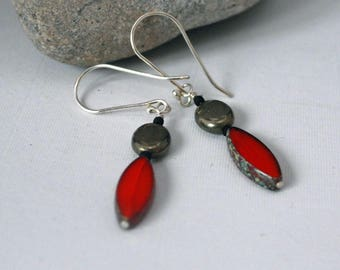 Red Czech Glass and Pyrite Dangle Earrings  J-2255