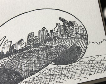 Chicago - eight letterpress note cards