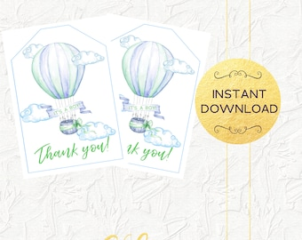 Blue Hot Air Balloon Thank You Tags, Thank You Favor Tags, Up Up and Away, Boy Baby Shower Thank You Tags, Baby Shower, Instant Download