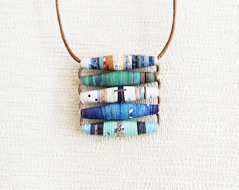 Travel magazine necklace • Creative necklace • Sustainable gift • Funky jewelry • Gift for traveler • Simple boho necklace • Hippie necklace