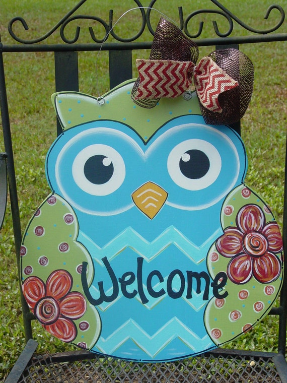 Welcome Owl Wood Door Hanger Wall Decor With Flowers Fall