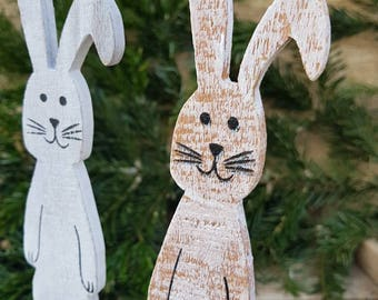 Bunny Buddies Easter Folk Art Vintage German Handmade Wood Rabbits Figurines Bunny Sculptures Rustic Easter Statues Easter Decor Photo Prop
