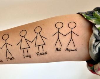 Stickmen Couples Temporary Tattoo, Anniversary Gift,  Friendship Tattoo, Typography