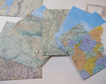 Travel Theme Envelopes for Invitations, A6 Size, Recycled World Atlas Pages, Vintage Map Stationery