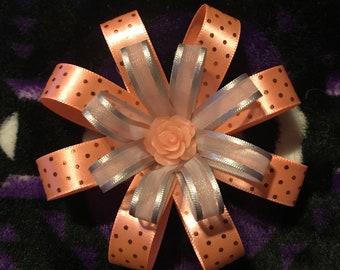 Peach and gray rose hair bow