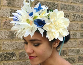 Statement Blue and White Headpiece. Lavender, Hydrangea dahlia Floral / Flower Crown. Bridal, Wedding Headband / Headdress Fascinator