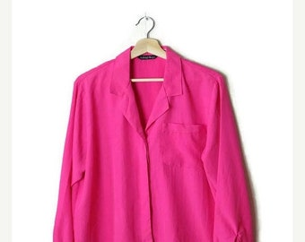 ON SALE Vintage Vivid Pink Long sleeve Slouchy Blouse from 90's*