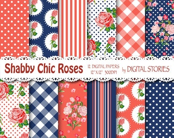 "Shabby Chic Digital Paper: ""SHABBY RED NAVYBLUE"" Floral background with roses for scrapbooking, invites, cards"