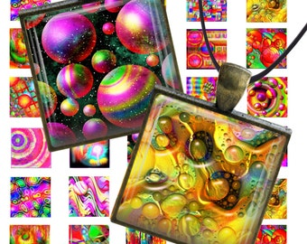 Instant Download Collage Sheet 40pc, 1x1 inch, 20pc Different Printable Special Abstract Image Jewelry Pendant Magnets