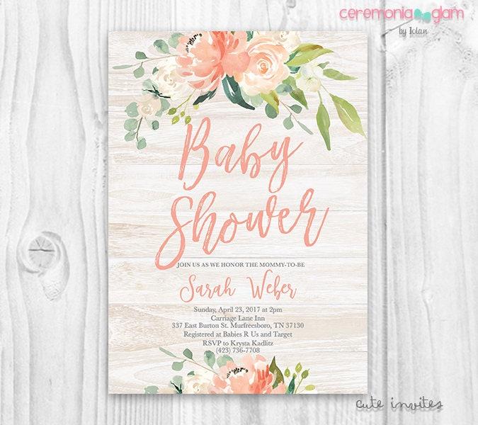 Rustic Floral Baby Shower Girl Invitation Boho Baby Shower