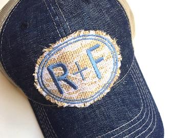 Rodan and  Fields trucker hat, R+F hat,  Rodan + Fields,r  Rustic trucker, burlap