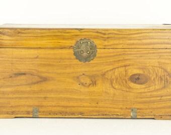 Ancien coffre | Malle en bois | Bois de camphre | fin du 19ème siècle en bois poitrine | B677