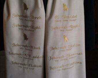 Prayer Shawl : Linen/ Rayon Machine Embroidered Names of God Prayer Shawl