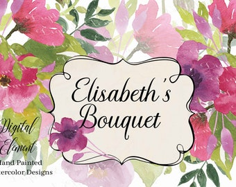 Watercolor Floral Spring Bouquet, Pink Flowers, Floral Bouquets and Png Individual Pieces. No. WC113