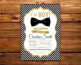 Black and Gold Baby Shower Invitation. Bow Tie Baby Shower Invitation. Oh Boy Baby Shower Invitation. Gold Glitter Baby Shower invite.BowTie
