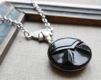 Geometric Design, Black Glass, Vintage German Glass Button, Necklace, Timeless Trinkets