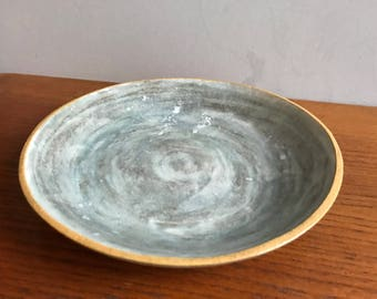 Large Wide Marbled Ceramic Serving Fruit Bowl Centerpiece in Grey, White and Mustard Yellow