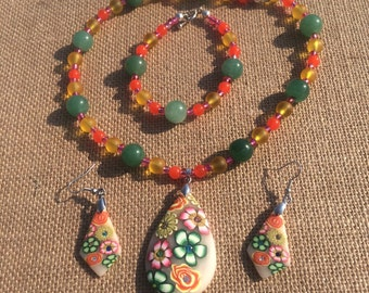Floral Necklace earring and bracelet set, matching jewelry, flower necklace earring and bracelet set, colorful matching jewelry set