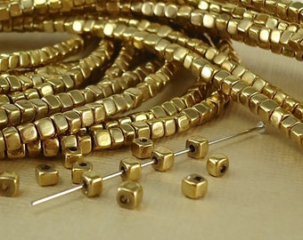 20 Brass Cube Beads 3mm Solid Brass Square Tiny accent brass Spacer Beads with round polished corners perfect for Jewelry making
