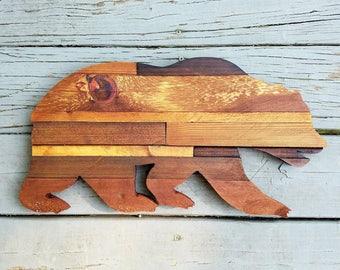 California Bear, Wood Bear, Rustic Wood Bear, Wooden Bear Outline, Rustic Bear, Bear Decor, California, Bear Sign, Bear Cutout