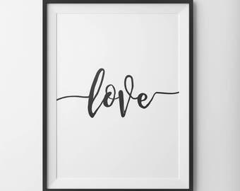 Love, Love Print, Love Poster, Modern Typography, Handwritten Print, Love Wall Decor, Love Type Home Decor, Love Script, Nursery Print