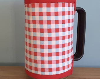 Reversible padded cafetiere/French coffee press cosy, red checks and polka dots
